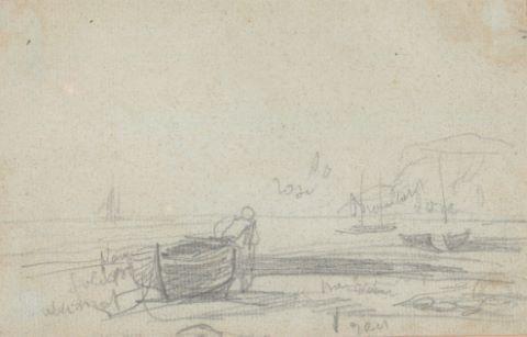 Barque et falaises au bord de la mer