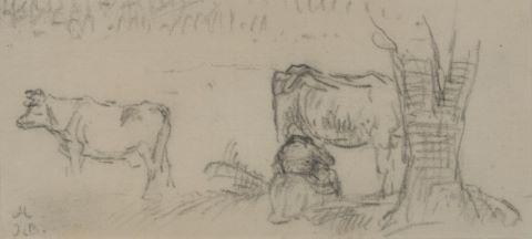 La Traite d'une vache dans un pâturage