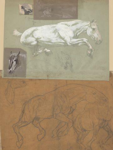 Ensemble de 9 feuilles d'études : Éléphant blessé, Chevaux, Anatomies, Femme au retour de la chasse, scène préhistorique avec chevaux