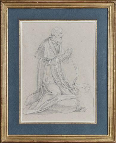 Ecclésiastique à genoux