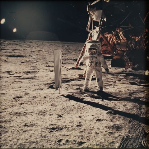 Buzz Aldrin devant le module lunaire, Apollo 11