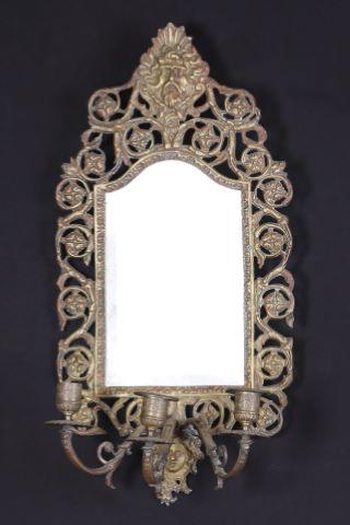 Paire de miroirs appliques à trois bras de lumière