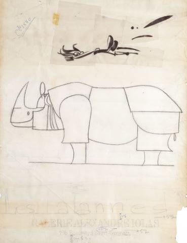 Rhinocéros, dessin préparatoire de l'affiche Les Lalannes, Galerie Alexandre Iolas