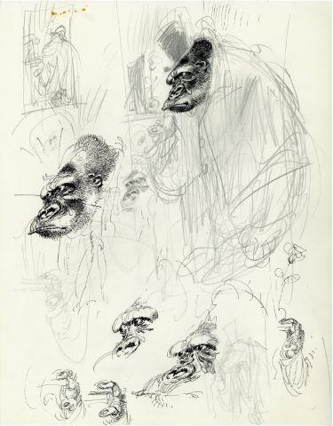 L'Homme qui devint gorille, de H.J. Magog, étude pour la couverture
