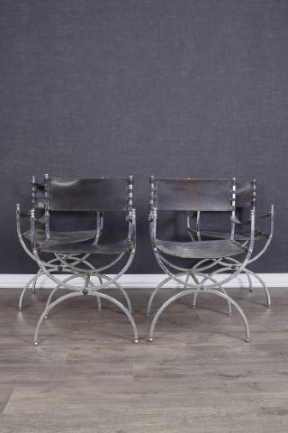 Suite de 4 fauteuils curule