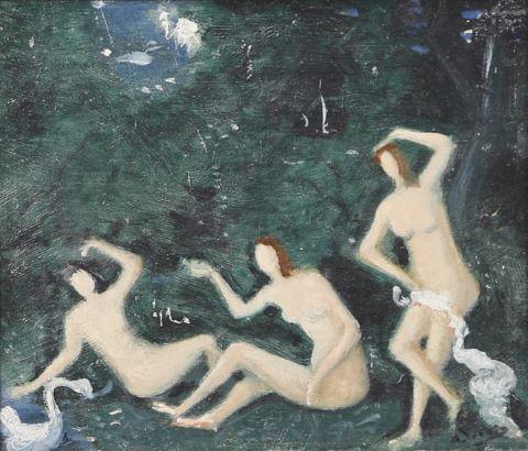Trois baigneuses dans un paysage
