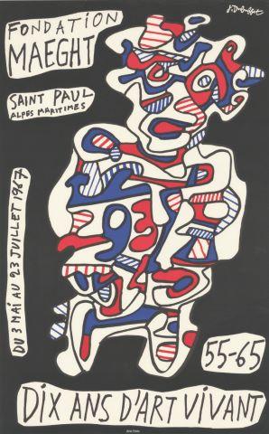 """Affiche d'exposition """"Dix ans d'art vivant, 55-65, Fondation Maeght, Saint Paul Alpes Maritimes, 3 mai - 23 juillet"""""""