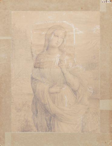Femme aux trois-quarts dans un paysage, une branche fleurie à la main