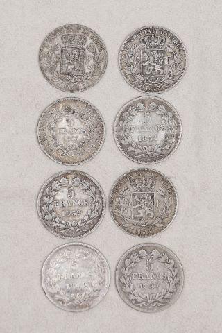 Ensemble de 8 pièces de 5 francs
