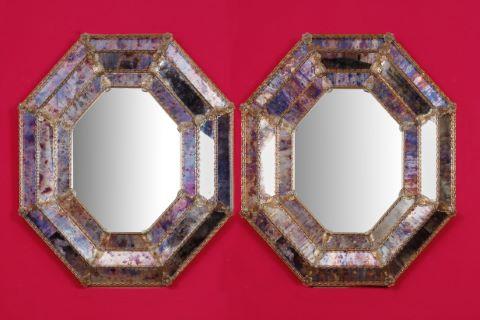 Paire de grands miroirs de Murano