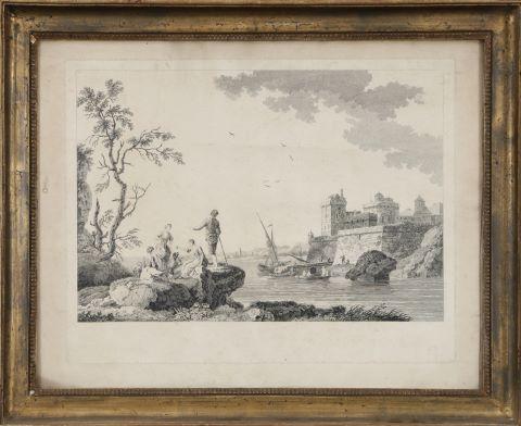 Scène galante devant une rivière