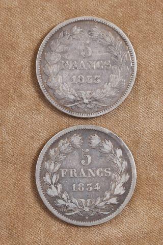 2 pièces de 5 franc Louis Philippe I tête laurée