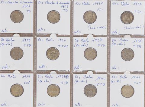 Collection de 99 pièces de 50 centimes ou demi-francs