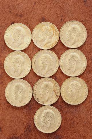 10 pièces Souverain Georges V or
