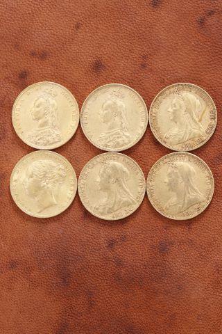 6 pièces Reine Victoria or