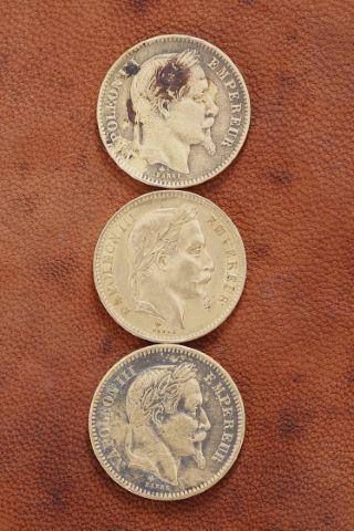 3 pièces 20 francs Napoléon III or