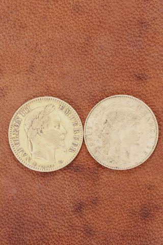 1 pièce 10 francs Napoléon III or + 1 pièce  10 francs or 1901