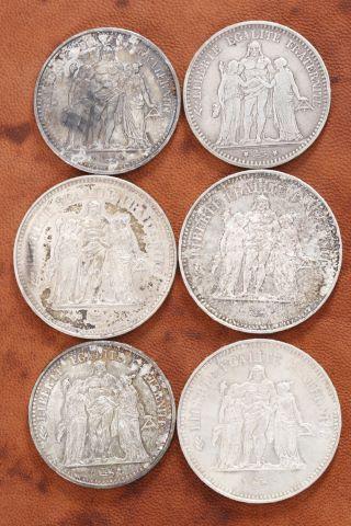 6 pièces Hercule en argent