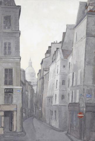 La Rue du Pélican avec le Panthéon à l'arrière-plan
