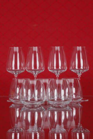 5 verres à Whisky et 4 verres à eau, collection Tac 02