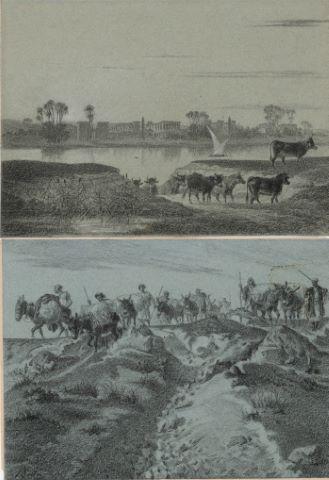 Caravane d'Ismaélites & Vue probable du Nil [2 dessins]