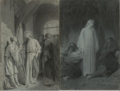Le Sommeil des disciples & L'Homme aveugle de naissance [2 dessins]