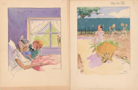 8 projets d'illustrations pour Les Malheurs de Sophie, éd. Hachette