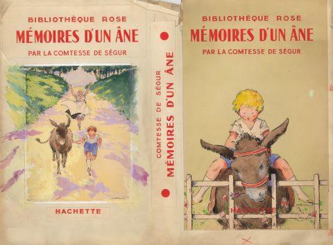 Mémoires d'un âne par la Comtesse de Ségur, double page de maquette de couverture