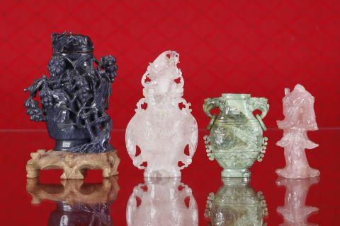4 sculptures en pierre dure