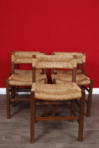 5 chaises paillées à dossier arqué