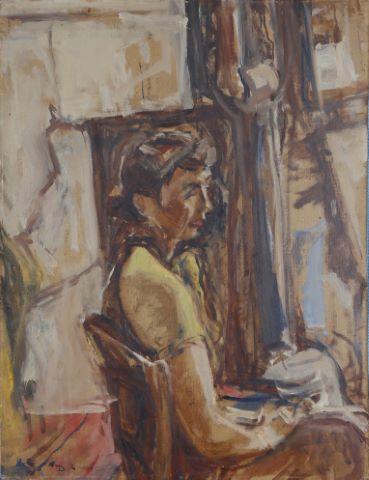 Portrait de femme assise / Bouquet de fleurs (recto/verso)