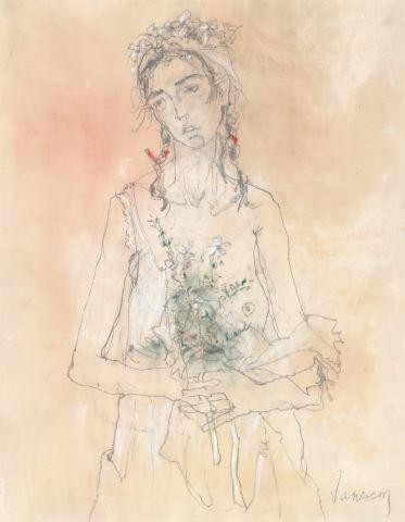 Femme au bouquet de fleurs