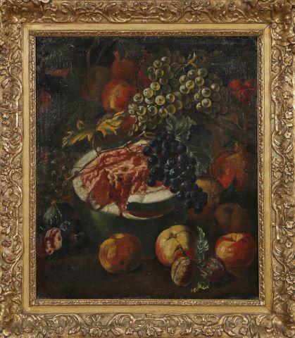 Nature morte à la pastèque, grenade, figues et grappes de raisin