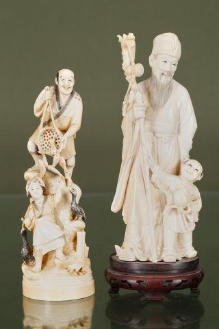 2 groupes en ivoire sculpté