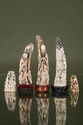 5 groupes en ivoire sculpté