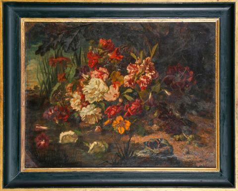 Nature morte aux fleurs et papillon